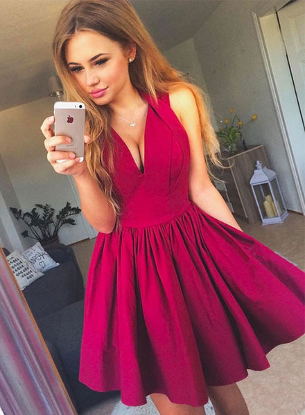 Red A line mini prom dress, homecoming dresses