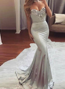 Gray sweetheart neck long prom dress, mermaid evening dress