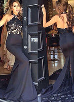 Black mermaid backless lace long prom dress, bridesmaid dress