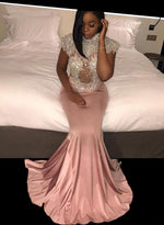 Pink mermaid beading long prom dress, pink evening dresses