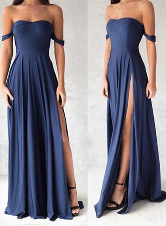 Navy blue shoulder long prom dress, evening dresses