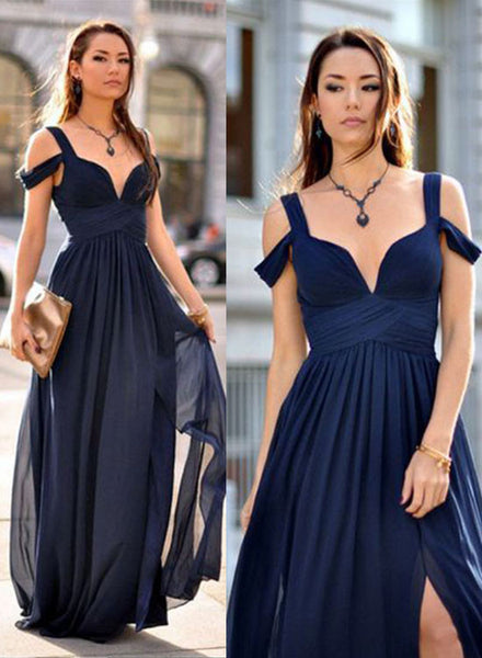 Nave blue chiffon long prom dress, bridesmaid dress