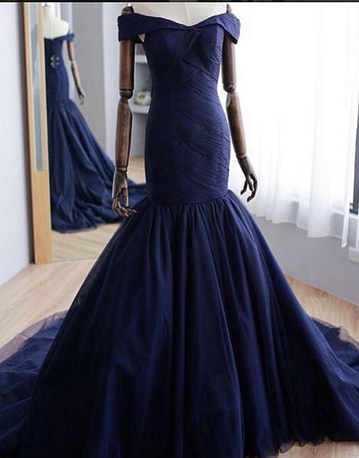 Navy blue tulle off shoulder long prom dress, evening gown
