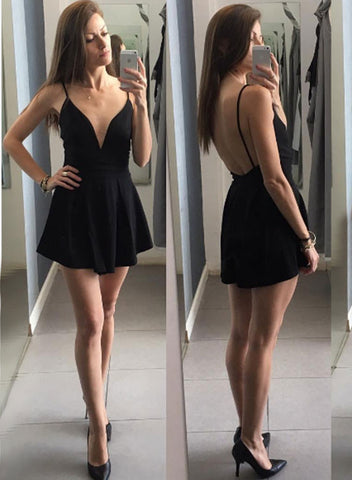 Black V neck mini prom dress, homecoming dress