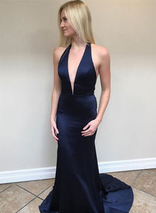 Simple dark blue v neck long prom dress, blue evening dress