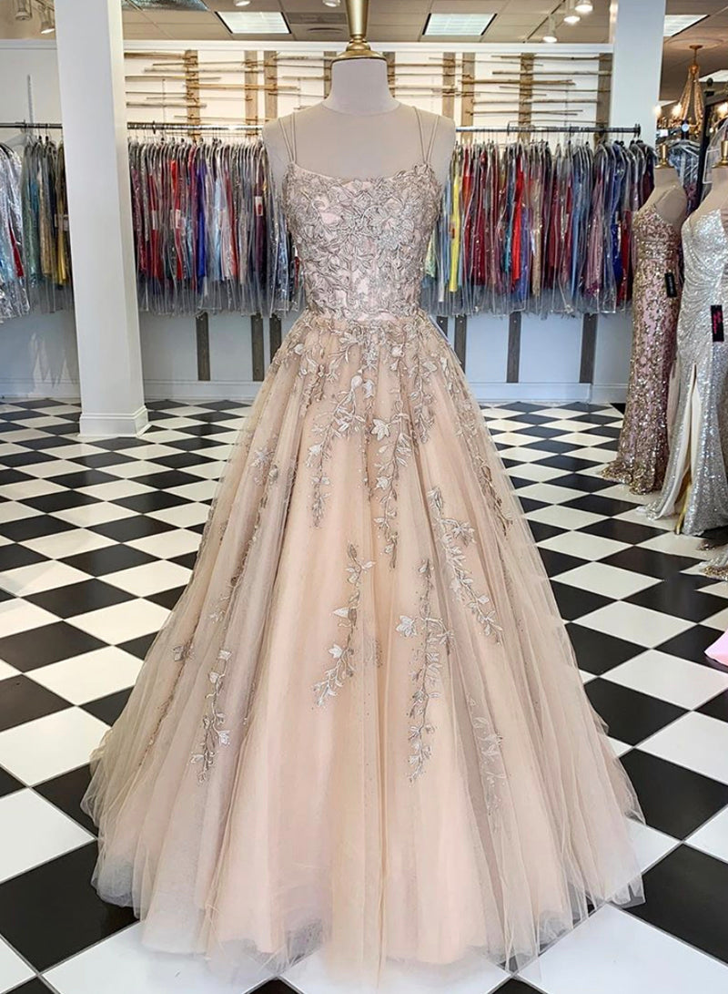 A line lace tulle long prom dress evening dress