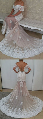 Mermaid tulle lace long prom dress, evening dress