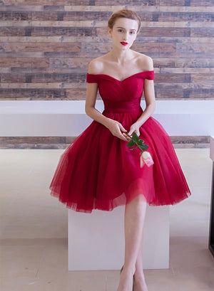 Red tulle short prom dress simple party dress