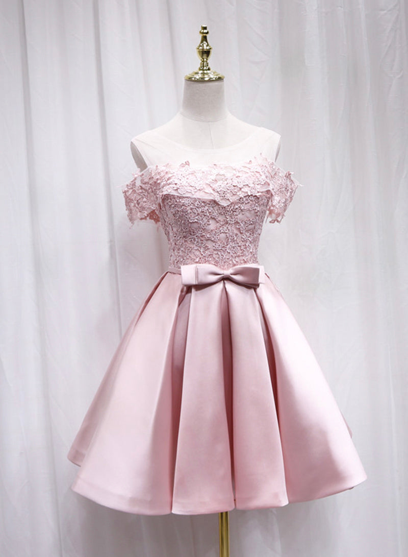 Lovely pink satin lace homecoming dress
