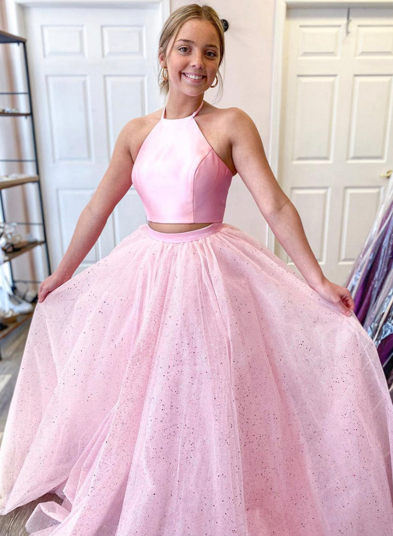 Pink tulle ball gown dress two pieces evening dress