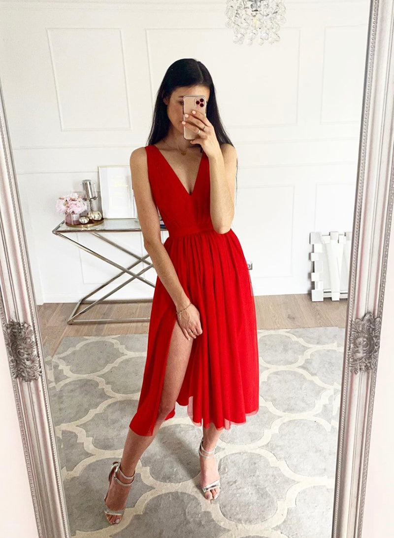Red chiffon short prom dress homecoming dress