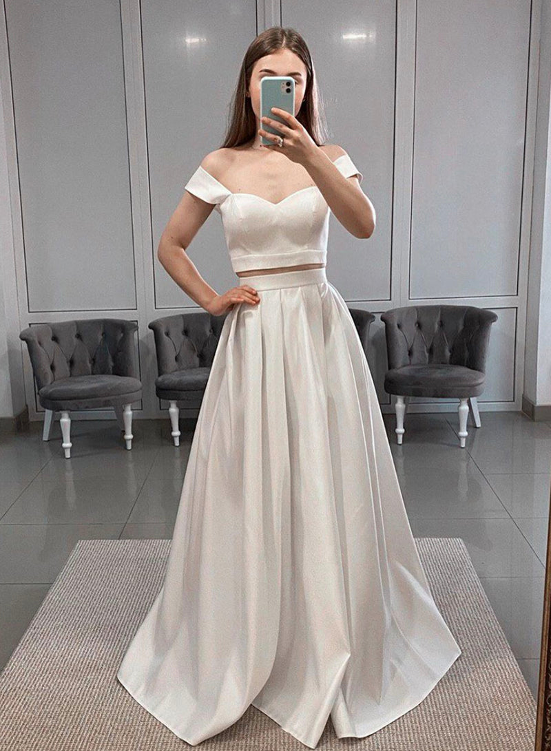 White satin long prom dress two pieces evening dress