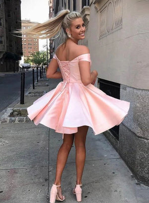 Pink satin short prom dress homecoming dress
