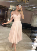 Pink chiffon short prom dress homecoming dress