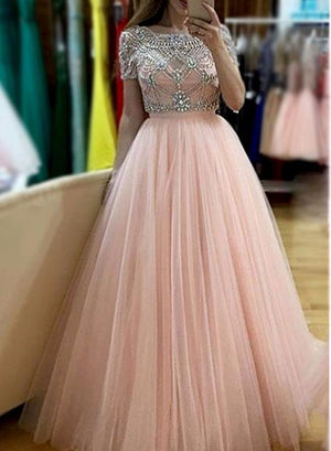 Custom made round neck two pieces long prom dress, evening dress