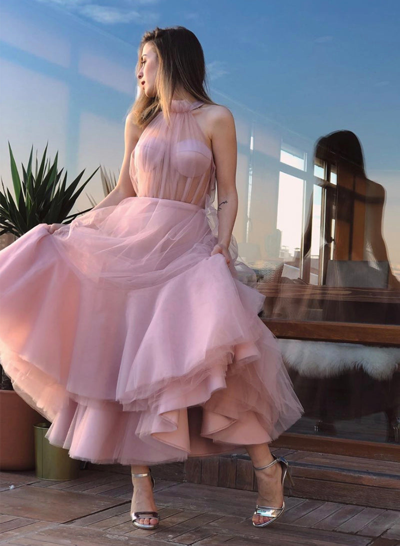 Pink tulle short prom dress homecoming dress