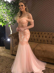 Pink lace tulle long prom dress, mermaid evening dress