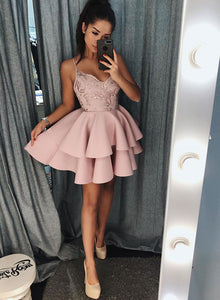 Pink v neck satin lace short prom dress, pink evening dress
