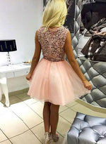 Pink v neck lace tulle short prom dress, homecoming dress