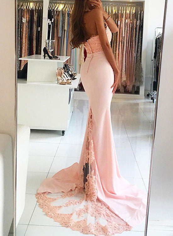 Pink mermaid lace long prom dress, pink evening dresses