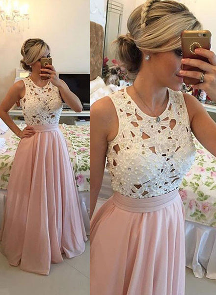 Pink lace chiffon long prom dress, pink evening dress