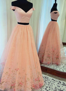 Pink two pieces off shoulder long prom dress, pink evening dress