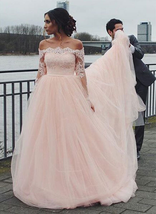 2db99e810a1 Pink tulle lace long prom dress