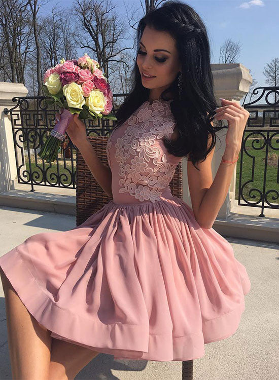 Cute pink appliques a line short prom dress, pink homecoming dress