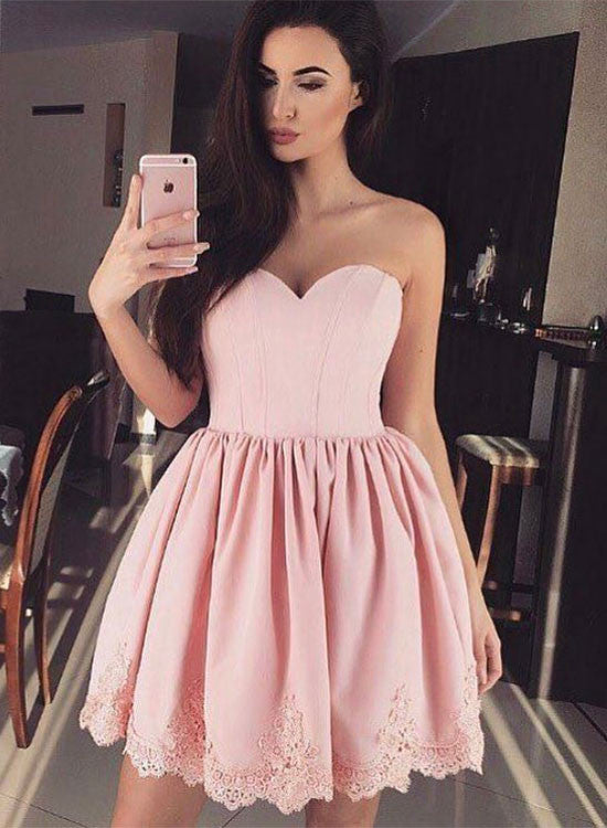Pink sweetheart neck short prom dress, lace homecoming dress