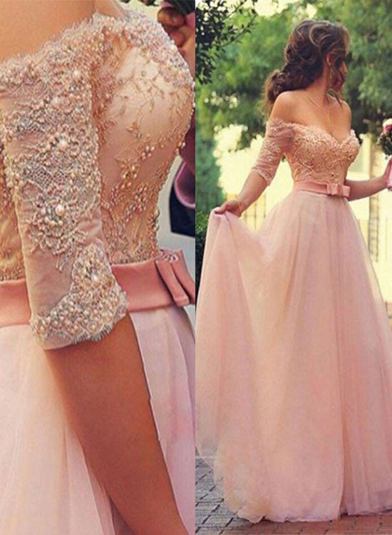 Pink A line lace sweetheart neck long prom dresses, evening dresses