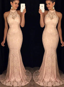 Pink lace mermaid long prom dress, lace evening dress