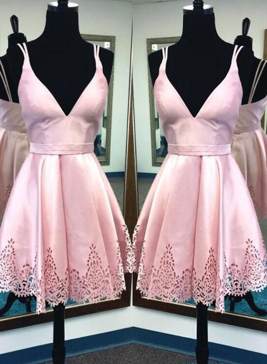 Cute pink v neck short prom dress, pink homecoming dress