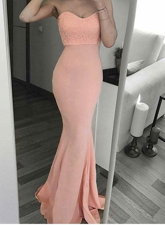 Pink mermaid sweetheart neck long prom dress, pink strapless evening ...