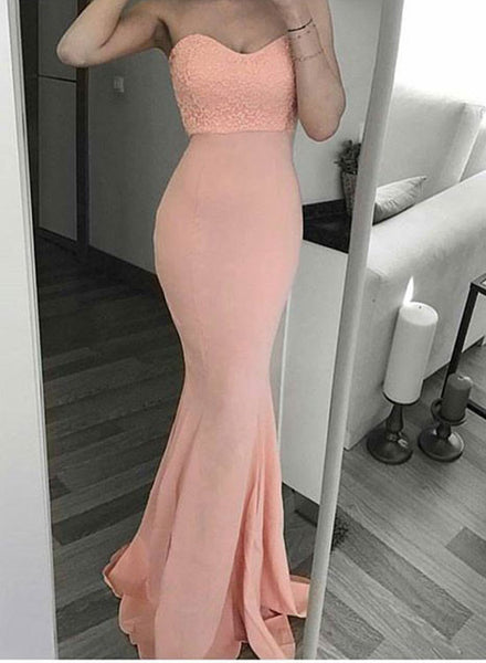 Pink mermaid sweetheart neck long prom dress, pink strapless evening dress