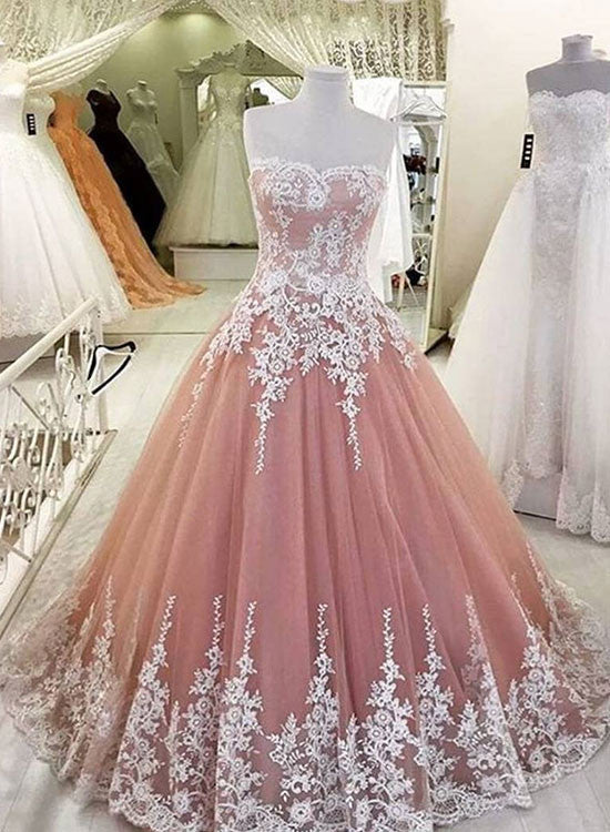 Custom made pink lace long prom gown, lace evening dress