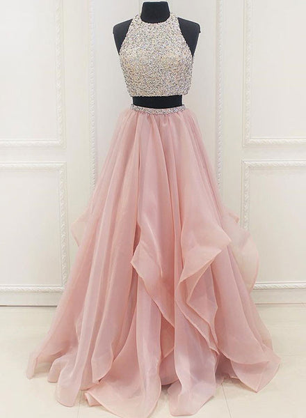 Pink A-line two peces long prom dress, pink formal dresses