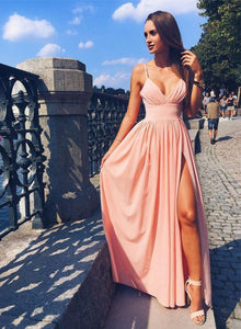 Pink spaghetti strap long prom dress, cheap evening dress