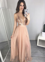 Pink v neck sequin long prom dress, evening dress