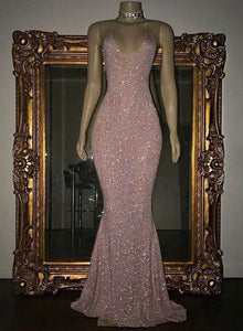 Sexy mermaid pink sequins long prom dress, pink evening dresses