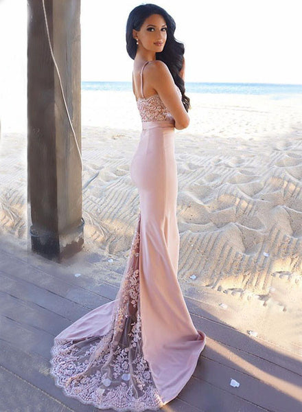 Pink mermaid lace long prom dress, pink evening dress