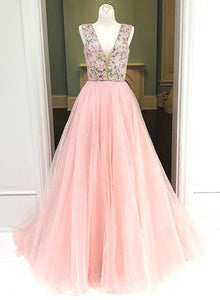 Pink A line v neck tulle prom dress, pink evening dress