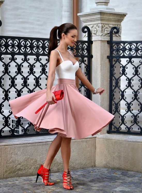 Cute A line white and pink short prom dress, homecoming dresses