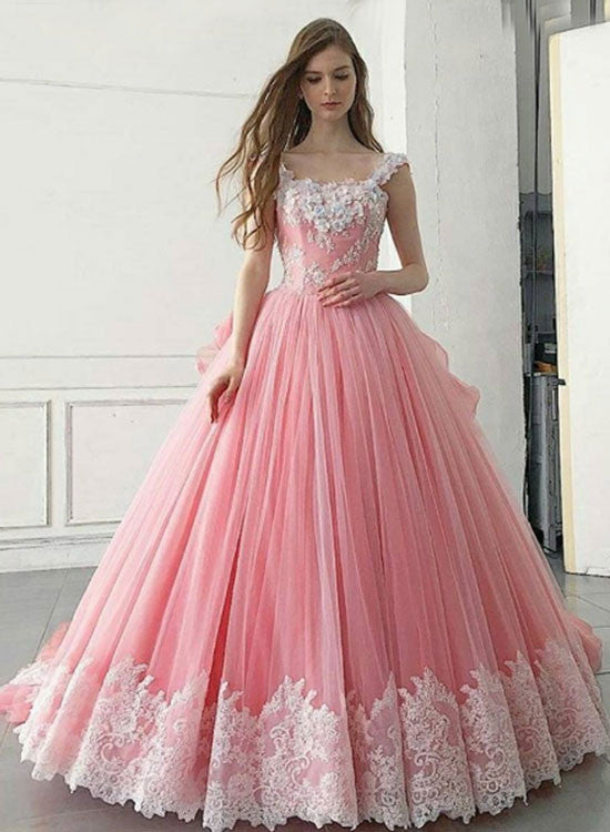 Custom made A line lace long prom gown, pink evening dresses