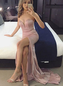 Simple pink mermaid long prom dress, mermaid evening dress