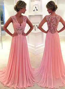 Pink v neck lace long prom dress, lace evening dress