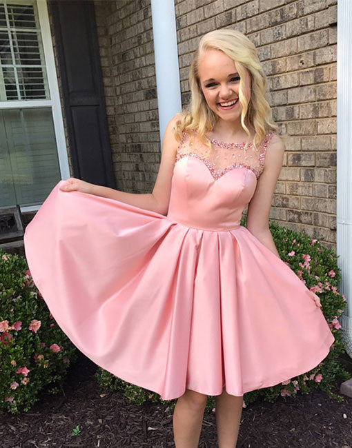 Charming pink satin beading short prom dress, pink homecoming dress ...