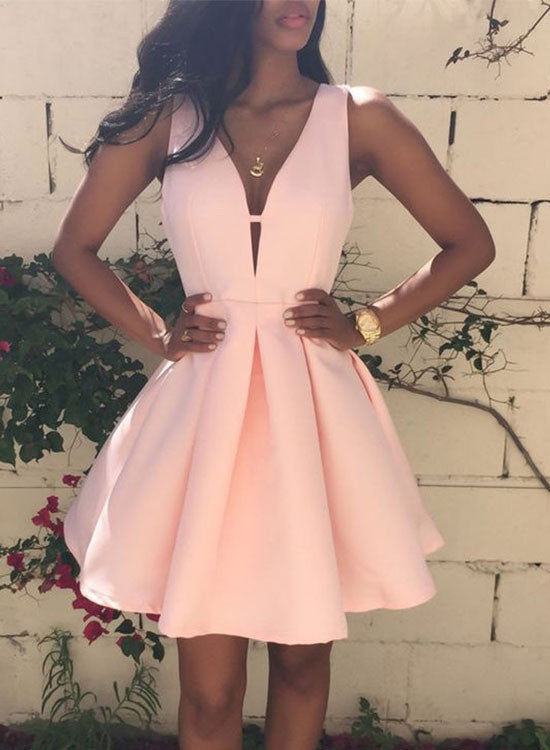 Simple pink v neck short prom dress, homecoming dress