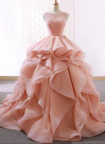Pink round neck tulle long prom dress, sweet 16 dress