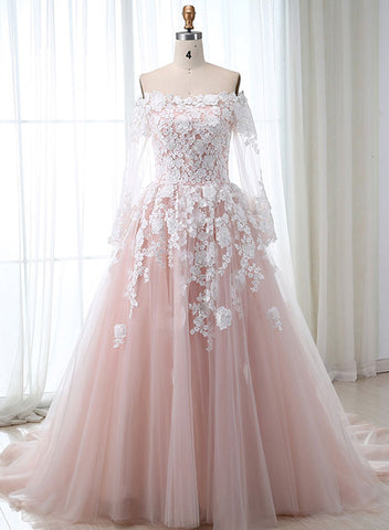 Pink tulle lace long prom dress, long sleeve evening dress