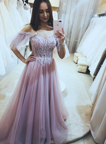 Pink tulle lace long prom dress evening dress